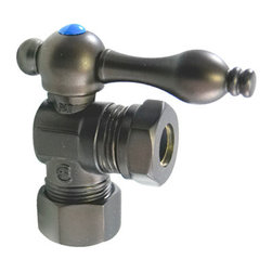 Kingston Brass - Classic Angle Stop with 5/8in. OD Compression x 1/2in. or 7/16in. Slip Joint - The 1/4-turn angle stop valve features a stylish vintage lever which controls the movement of water through and from plumbing fixtures. The valve is made of solid brass built for durability and dependability and also comes in a variety of finishes to better coordinate your kitchen/bathroom.