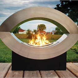 PureFlame - Ellipse of Fire Modern Ethanol Fireplace - The Ellipse of Fire ethanol fireplace by PureFlame is a sure way to modernize and spice up any area - indoors or out. Designed to be portable, Ellipse of Fire can be positioned for optimum viewing angle and flexibility due to its open appearance. This fireplace sits in a black powder-coated base which holds the body of its elliptical shape composed of stainless steel. This fireplace offers an eco-friendly flame that is odorless. Bio Ethanol, an alternative fuel source produced from plants, only emits water vapor and carbon dioxide into the air. Although ethanol fireplaces aren't intended for use as a primary heat source, the Ellipse of Fire model produces enough heat to alter the ambient temperature in a small space. An ideal way to add emotional decor to any space of your choosing!