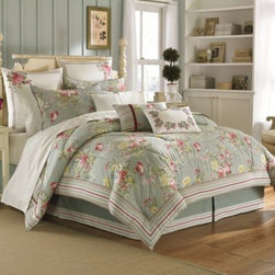 Laura Ashley - Laura Ashley Eloise Comforter Set in Aqua - Turn a shabby bedroom into a chic one with the elegant Laura Ashley Eloise Comforter set. With shades of rose in pale aqua, the floral bedding collection instantly brings a warm and tranquil ambiance to your bedroom.