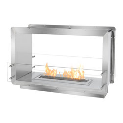 IGNIS - Ignis See Through Bio Ethanol Fireplace Insert FB2400-D Firebox - Part of Ignis' new Ethanol Firebox Collection, the FB2400-D Ethanol Firebox has already become popular with architects, contractors and designers alike. This mid-sized ethanol fireplace insert is an ideal application for any residential or commercial setting. Included is the Ignis EB2400, a drop-in ethanol burner boasting a linear flame of nineteen inches in length which provides sufficient warmth and ambiance. Built of solid grade 304 polished stainless steel, this ethanol burner box is produced using double wall construction, each wall equaling 3mm in width, and is also insulated with a patented rock wool insulation, making this ethanol fireplace insert heat resistant and one of the safest build-in fireplaces on the market today. When creating this heavy duty fireplace that offers zero clearance, the importance of an easy installation and ease of use were among the top customer needs considered. Using the surrounding flange, simply attach the firebox to the wall studs, existing fireplace alcove or custom case. Because this firebox burns biofuel, special ventilation or further hook-up is unnecessary. A double-sided unit, the FB2400-D Ethanol Fire Box will produce lively, clean-burning flames that may be enjoyed by those in two rooms. For aesthetic prowess and additional safety, this ethanol fireplace includes two panels of tempered glass that are smartly positioned in front of the flame. With its assembly by hand and patented construction, this fireplace is made like no other.