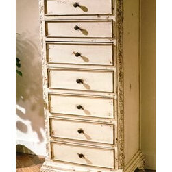 """Habersham - Habersham Seven-Drawer Chest - It all started in the small North Georgia town of Clarkesville. It was 1969 and Habersham founder Joyce Eddy had just been given the chance to operate a small antique shop located above an old laundromat. This was just the opportunity a woman of Joyce's vision and energy would turn into the perfect blend of utility artistry and soul. Looking for ways to make her antique business more profitable she began crafting small decorative purses from vintage wooden cigar boxes. They were totally unique and they were an instant hit. Joyce named her new venture Habersham Plantation after Georgia's Habersham County and the plantations for which the area was known. The ideas just kept coming. One day Joyce was driving by a local textile company and spotted a large pile of old discarded wooden spools. Those spools were soon crafted into candleholders towel racks and folk art items. With the help of her sons and other family members Joyce expanded Habersham's offerings to include handcrafted furniture reflecting the American Country designs of the early 17th and 18th centuries. As word spread and production demands grew Joyce enlisted the help of woodworkers from her North Georgia region. This area had been a center for cabinetmaking since the early 1800s and the master craftsmen were well-schooled in the time-tested woodworking and joinery techniques that matched Joyce's sense of style and function. She even designed her factory to work just as the 18th century cabinetmakers did with individual artisans hand-finishing signing and dating each piece of furniture they crafted. Today Habersham still leads the way in the fine art of furniture design. So much so that in addition to their product line a new """"whole home"""" concept is finding its way into some of the finest dwellings in the country. Custom kitchen bath and other cabinetry designs offer rich opulent finishes and blend seamlessly with rooms of casual elegance all enhancing today's gr"""