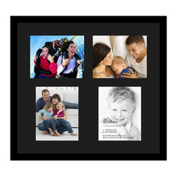 ArtToFrames - ArtToFrames Collage Photo Frame  with 4 - 8x10 Openings and Satin Black Frame - Your one-of-a-kind photos deserve one-of-a-kind frames, but visiting a custom frame shop can be time consuming and expensive. ArtToFrames extensive and growing line of inexpensive multi opening Photo Mats will get you the look you want at a price you can afford. Our Photo Mats come in a variety of sizes and colors and can be custom made to your needs. Frame choices range from traditional to contemporary, with both single and multiple photo opening mat options. With our large selection of custom frame and mat choices, the design possibilities are limitless. When you're done, you'll have a unique custom framed photo that will look like you spent a fortune at a frame shop. Your frame will be delivered directly to your front door or sent as a gift straight to your recipient. _.:*~*:._ Product SKU # - Double-Multimat-133-89/89-FRBW26079