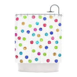 """Kess InHouse - Beth Engel """"Seeing Dots"""" Rainbow White Shower Curtain - Finally waterproof artwork for the bathroom, otherwise known as our limited edition Kess InHouse shower curtain. This shower curtain is so artistic and inventive, you'd better get used to dropping the soap. We're so lucky to have so many wonderful artists that you'll probably want to order more than one and switch them every season. You're sure to impress your guests with your bathroom gallery in addition to your loveable shower singing."""