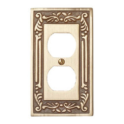 Renovators Supply - Switchplates Antique Solid Brass Single Outlet Switch Plate - Single (1) Outlet, Single (1) Gang Outlet Plates: This elegant solid brass outlet plate features an antique brass finish.