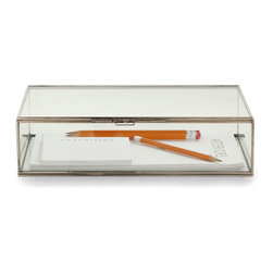 Jedd Small Document Box - A simply lovely addition to any home office desk, the Jedd Document box has a polished nickel frame that is surrounded by gorgeous clear glass so that the contents are visible. A perfect place to store important documents, notepads or writing utensils. This darling box is completely versatile and can be used in any room for so many different purposes and looks great doing it.