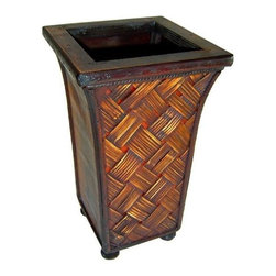 Cheung's - 10 in. Tall Square Wood Rattan Planter in Brown - This 10 in. tall planter with square shaped lip has a woven finish with brownish tones. Made of rattan wood this tall planter adds accent to your home. Add this unique piece to your home garden indoor or outdoor. 11.81 in. L x 23.23 in. W x 20.87 in. H (0.75 lbs.)