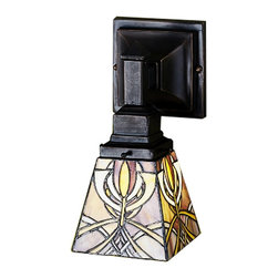 Meyda Tiffany - Meyda Tiffany Sconces Wall Sconce in Mahogany Bronze - Shown in picture: Glasgow Bungalow Wall Sconce; This Meyda Tiffany Original One Light Wall Sconce Is Inspired By The Art And Architecture Of Charles Rennie Mackintosh And The Glasgow School Of Art. Amber-Mauve And Gold Stained Glass Make Up The Intricate Patterned Shade That Is Suspended From Mission Style Hardware In A Warm Mahogany Bronze Finish.