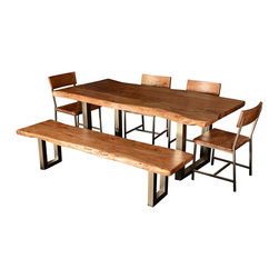 Live Edge Single Slab Modern Rustic Dining Table & Chair Set w Bench - You've come to expect the best in quality and style from Sierra Living Concepts; this rustic contemporary large live edge dining table and chair set certainly combines both in a big way.