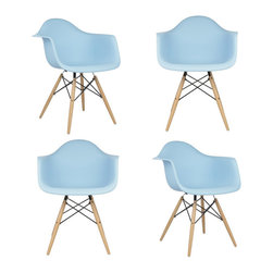 Ariel - Set of 4 Eames Style DAW Light Blue Dining Armchair w/ Wood Eiffel Legs - This set of 4 Eames Style DAW Molded Light Blue Plastic Dining Armchair with Wood Eiffel Legs comes with four beautiful ergonomic arm chairs to easily provide extra seating for your family and guests. Sporting a clean, simple, retro, yet modern design sculpted to fit the body, this gorgeous armchair set is the perfect addition to the kitchen, patio, or deck. Available in multiple colors.