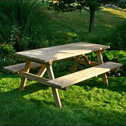 """Fifthroom - 66"""" Treated Pine Economy Picnic Table - When people think of the perfect picnic table, they think of this one.  Flawlessly at home in a commercial setting, this picnic table will also add a classic touch to a backyard or patio.  Crafted from durable and beautiful Treated Pine, this table will last through years of use.  The counter sunk hardware as well as the rounded and sanded edges make this table high quality and safe for kids.  The A-Frame design is incredibly sturdy to make for sensational get-togethers.  Treated Pine readily accepts all paints and stains, which helps to protect the wood as well."""