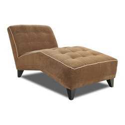 Dane Chaise - Is there any lounge more luxurious than a chaise? Luring you in with its attractive angles and ample padding, the Dane chaise is a particularly plush piece where enjoying a great read or long nap can easily turn into an everyday occurrence. Upholstered in a smooth taupe fabric that's topped with boxed tufting, the silhouette is enriched by cream contrast welting and angled tapered legs.