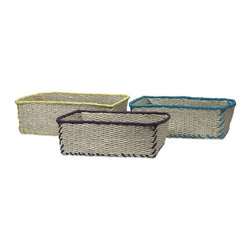 "IMAX - Koko Storage Baskets - Set of 3 - The handsome Koko Storage Baskets are expertly woven from paper rope and trimmed in vivid colors.  Item Dimensions: (4.75-5.25-5.50""h x 9.25-10-11.25""w x 14-15-16"")"