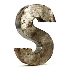"Kathy Kuo Home - Industrial Rustic Metal Small Letter S 18""H - Create a verbal statement!  Made from salvaged metal and distressed by hand for an imperfect, time-worn look."