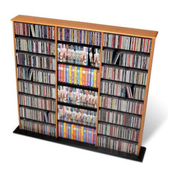Prepac - Triple Width Wall Mouted Multimedia Storage Rack - Prepac''s multimedia collection represents the most complete assortment of high capacity multimedia storage in the world. Every product has been designed and engineered to accommodate large capacities of CDs, DVDs, videos and cassettes. Attractive finishes, curved edges, quick-assembly fasteners and unique protective packaging make Prepac the undisputed champion in this new and exciting high growth category. This very popular library style media storage unit with three separate compartments is designed to accommodate any combination of media in a large collection. Fully adjustable shelves and horizontal media storage allows for easy sorting, filing and re-filing of your collection as it grows. With ample shelf space, four finishes to choose from, and attractive, curved edges, the Triple Width Wall Storage Media Tower is perfect for organizing any music or video collection. Features: -Adjustable shelves.-Central divider.-Ample shelf space.-Attractive, curved edges.-Distressed: No.-Collection: Floor Media Storage.-Country of Manufacture: Canada.Specifications: -Holds 960 CDs, 405 DVDs, 240 videos or 210 Disney videos.Dimensions: -Overall Product Weight: 69 lbs..Warranty: -5 year manufacturer''s limited warranty. About the Manufacturer: About Prepac: Founded in 1979, Prepac Manufacturing is a state-of-the-art manufacturer of home furnishings and storage products with its main manufacturing factory located in the heart of the forest-rich province of British Columbia, Canada. Prepac is now one of the largest producers of ready to assemble furniture in Canada, with full-service representation throughout North America. To ensure our customers receive outstanding design and quality at competitive prices, Prepac''s design, engineering, production, testing and packaging are all done in-house.