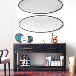Burnished Black Reclaimed Pine Wood Console Table -