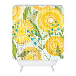 DENY Designs - Cori Dantini Sun Burst Flowers Shower Curtain - Who says bathrooms can't be fun? To get the most bang for your buck, start with an artistic, inventive shower curtain. We've got endless options that will really make your bathroom pop. Heck, your guests may start spending a little extra time in there because of it!