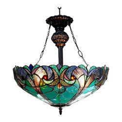 Inverted Ceiling Pendant - LIAISON' Tiffany-style Victorian 2 Light Inverted Ceiling Pendent Fixture 18' Shade . LIAISON, this Victorian ceiling pendant is handcrafted with pure stained glass, with gem tone, soft pedestals, as well as the Victorian motif. The warm color glow ofeethe stained glass will creates warmth to your home. With this hanging ceiling pendant, you can make a soft romantic glow by using just the mid-section.