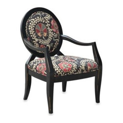 E & E Co., Ltd. - Malibu Accent Chair in Safar in a Ebony - With pops of deep red within its organic floral print combined with an oval back frame featuring a rubbed ebony finish, the Malibu is destined to make a fashion statement in your living room. Made of wood and durable fabric.