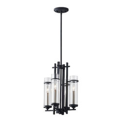 Murray Feiss - 4 Bulb Antique Forged Iron / Brushed Steel Chandelier - - UL Dry Approved.