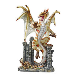 EttansPalace - Classic Serpent Dragon Desktop Statue Sculpture Figurine - From atop the ruins of his enchanted Gothic castle, Deadly Venom, our Medieval dragon figurine, spreads his translucent resin wings in this work of fantasy art. Intricately detailed from scales and talons to tail and horns, this dragon statue creates myth and mystery as a quality designer resin collectible work. Our unique, hand painted original is another statue!