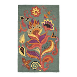 Safavieh - Safavieh Blossom Country and Floral Hand Hooked Wool Rug X-5-A976MLB - 100% pure virgin wool pile, hand-hooked to floral designs with neutral tones. This collection is handmade in India exclusively for Safavieh.