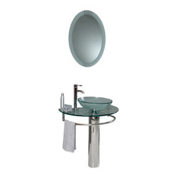 Fresca - Fresca Attrazione Glass Bathroom Vanity w/ Frosted Edge Mirror - This simply constructed jewel tone chrome stand and gently sloping tall clear glass basin are ideal for simple living with a touch of class and modern charm. Versatile for any décor. Quietly interesting and chic without being disruptive, a great vanity for those with a single bathroom requiring little fuss.