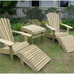 Weathercraft Designers Choice 5 Piece Adirondack Chair Set - Additional featuresClassic comfort back for ultimate in relaxationSeat is contoured for optimal comfortFeatures rust-resistant stainless steel nailsChair: 33D x 30.5W x 36H inchesSeat: 18.25D x 20W inchesSeat height: 13.75 inchesOttoman: 20L x 24W x 13H inchesSide table: 25L x 20D x 21.75H inches Create a fully-furnished outdoor seating area for two instantly with the Designers Choice 5 Piece Adirondack Chair Set. Your purchase includes two Adirondack chairs two matching ottomans and a matching side table. This will keep you and a friend comfy and relaxed all afternoon. Constructed of high-quality #1 grade Southern Yellow Pine each piece in this set is protected by environmentally- and family-friendly pressure-treated preservatives that give them a lifetime of weather resistance. All nuts bolts and screws have a hot-dipped galvanized coating and all nails are stainless steel for additional protection against the elements. Curved comfort backs and contoured seats make the chairs extra relaxing.If you'd like to prolong the life of these pieces we recommend staining with a transparent stain or similar protectant. Due to the pressure treatment process this wood has undergone painting these items with solid color paint is not recommended. If left untreated they will weather to a beautiful silvery patina grey over time.About WeatherCraft Outdoor Furniture Inc.Just two people started WeatherCraft Furniture in 1988 but out of their small North Carolina garage grew a flourishing outdoor furniture business that today fills an 8 000-square-foot manufacturing plant. Customer service and satisfaction are WeatherCraft's focus evident in the high-quality materials and careful construction used to create the company's signature Adirondack chairs. The lumber used is kiln-dried reducing instances of cracking and making it ideal for natural weathering.