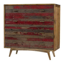 Marco Polo Imports - Troika Dresser - The Troika dresser combines retro design with modern functionality and woods reclaimed from old buildings for a found appeal that is as striking as it is livable. With unique characteristics defined by the geographic region from which the timbers originate, the reclaimed wood is bleached, sanded and finished to heighten the woods' raw beauty. Hand finished in a distressed red.