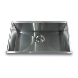 """Nantucket Sinks - Nantucket Sink zr3219-16 - 32"""" Pro Series large Rectangle Single Bowl Undermount - This undermount Pro Series rectangle provides 90° corners for additional space and a fresh modern industrial look. The bottom of the sink has channel grooves to divert water for proper drainage."""