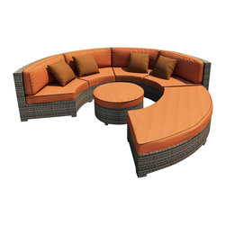 Forever Patio - Hampton Radius 4 Piece Outdoor Sectional Set, Heather Wicker and Rust Cushions - The Forever Patio Hampton Radius 4 Piece Patio Wicker Sectional Set with Burnt Orange Sunbrella cushions (SKU FP-HAMR-4SEC-HT-CR) creates a look that is sure to impress. The set seats 6 to 7 adults comfortably, and features Heather resin wicker, which is made from High-Density Polyethylene (HDPE) for outdoor use. Each strand of this outdoor wicker is infused with its natural color and UV-inhibitors that prevent cracking, chipping and fading ordinarily caused by sunlight, surpassing the quality of natural rattan. Each piece features thick-gauged, powder-coated aluminum frames that make the set extremely durable. Also included with this curved sectional sofa set are fade- and mildew-resistant Sunbrella cushions. The deep-seated design of the Hampton collection combined with plush cushions makes this round patio sofa set as comfortable as an indoor sectional, but designed for the outdoors!