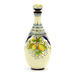 Artistica - Hand Made in Italy - LIMONCELLO: Limoncello Bottle with Stopper - Blue design - LIMONCELLO: If you have ever visited Italy, you''ll instantly know about Limoncello.