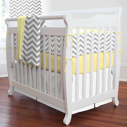 "Gray and Yellow Zig Zag Mini Crib Bedding - Bold, modern and contemporary best describes this nursery collection. Featuring our white and gray chevron design on soft 100% cotton twill, this collection is the perfect gender neutral bedding for your new arrival. This collection will bring years of enjoyment to your family. Perfect for smaller nurseries or for staying at Grandma's, portable mini-cribs are a great space-saving alternative to standard sized cribs. Our mini-crib bedding is designed to fit portable cribs using mattresses measuring approximately 24"" x 38""."