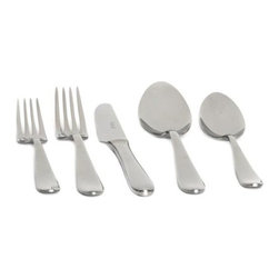 Home Decorators Collection - Palladium 20-Piece Flatware Set - Our Palladium 20-Piece Flatware Set is a model of stylish simplicity. Gentle curves and tapers offer smooth comfort for the hand and eye. This stainless steel flatware set includes four dinner forks, four salad forks, four soup spoons, four teaspoons and four knives. Set of four place settings. 18/10 stainless steel. Mirror finish. Made in Italy.