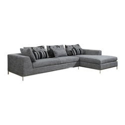 Global Furniture - Global U113 Sec Sectional in Gray - Clean lines and transitional style is what this sectional has to offer. Covered in a grey fabric with sleek metal legs for support it features a spacious chaise and coordinating accent pillows in a flowered, striped and grey pattern to complete the look