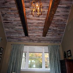 Custom milled at Excelsior Wood Products, LLC - Mink Hollow - Reclaimed Wood Barn Beams & Oak Wood Ceiling Paneling - Reclaimed oak ceiling paneling and reclaimed barn beams.