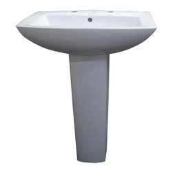 None - Modern Square White 8-inch Spread Ceramic Pedestal Sink - This pedestal sink comes in a brilliant white. The sink is composed of quality ceramic in an angled rectangular shape on a sturdy pedestal.