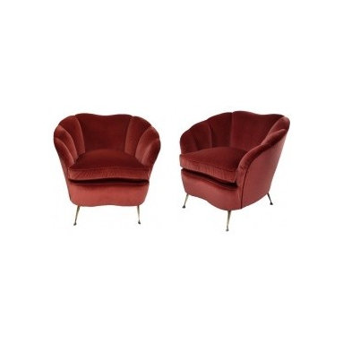 Eco Friendly Furnture and Lighting - A Pair Of Ico Parisi Armchairs. Italy 1950's A pair of large Italian armchairs by Ico Parisi of Milan. Of sculptural form with scallop backs. Newly upholstered in damson velvet, which is identical to the original.