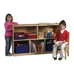 "Ecr4kids - Ecr4Kids Kids School Classroom 5 Compartment Medium Toy Storage Cabinet - Store all of all your classroom essentials in these attractive, birch storage cabinets, featuring 5 compartments that hold toys, puzzles and storage bins up to 12"" deep. Constructed of birch ply with a beautiful natural finish. Heavy-duty casters included for easy mobility."