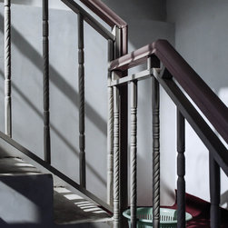 """Stair, 16x16"""" fine art color photograph - Fine art photograph of an angular staircase with strong shadows. Available as a 16x16"""" limited edition photo, printed archivally on photo rag paper. Unframed"""