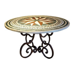 Pre-owned Ancient Venetian Table - This stunning large round mosaic table with curved iron legs is just perfect for your garden patio. We're picturing a hot cup of morning jo, the daily paper, and a seat with a view.