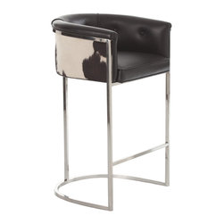 Kathy Kuo Home - Calvin Top Grain Hair on Hide Black Leather Art Deco Bar Stool - Combining the chic effect of a leather upholstered bar stool with the modern rusticism of cowhide, this piece of modern seating creates a casual elegance.  Modern, elegant, and never fussy - perfect.