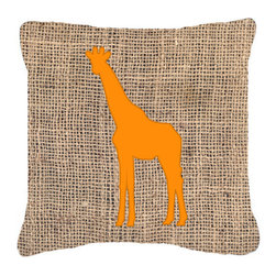 Caroline's Treasures - Giraffe Burlap and Orange Fabric Decorative Pillow BB1001 - Indoor or Outdoor pillow made of a heavy weight canvas. Has the feel of Sunbrella fabric. 14 inch x 14 inch 100% Polyester Fabric pillow Sham with pillow form. This pillow is made from our new canvas type fabric can be used Indoor or outdoor. Fade resistant, stain resistant and Machine washable.