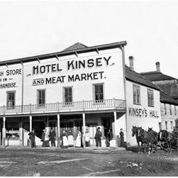 Buyenlarge - Hotel Kinsey and Meat Market 28x42 Giclee on Canvas - Series: Logging & Timber - Kinsey