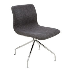 Nuevo Living - Alta Office Chair With No Casters - Alta Office Chair will take your office to new heights. It features molded fiberglass frame which is covered in durable CFS foam and then upholstered in a gray or black fabric which is comfortable yet holds up to everyday office use. The swivel base is made of chromed steel. The Alta Office Chair can be used in the conference room, as a side chair next to a desk, or even in a waiting room.