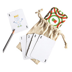 Build 52 Playing Cards - A deck of playing cards is the ultimate travel game. Kids will love decorating this set with their own characters and then get to building houses and towers with the slotted edges. It's a gift with endless opportunities for fun and creativity.