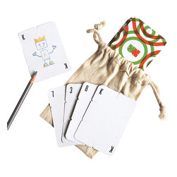 Build Customizable 52 Playing Cards - A deck of playing cards is the ultimate travel game. Kids will love decorating this set with their own characters and then get to building houses and towers with the slotted edges. It's a gift with endless opportunities for fun and creativity.