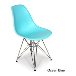 None - The Mid-Century Dining Chair - This mid-century Eiffel dining chair features a clean,simple form sculpted to fit the body. The shell is quality polypropylene and the base is made from chromed steel.