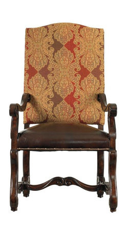 """Stanley Furniture - Costa Del Sol-Perdonato Arm Chair - Certain pieces are so distinctly styled, they transport you immediately-telling stories of shared joys from centuries long past. Our Perdonato Arm Chair is one of them. Rich with texture, history and detail, the graceful high-back host chair is as comfortable behind a desk as it is at the head of a Spanish ballroom. The noble tapestry-covered seat back gives a surprising softness to the stately carved legs. And the double-cushioned, aniline-dyed leather seat promises to """"forgive"""" all manner of sins."""
