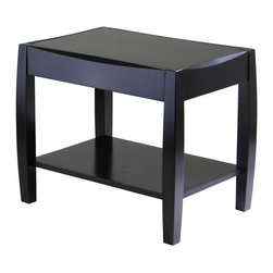 Winsome Wood - Cleo End Table in Dark Espresso Finish - Unique design and profile to the table top and legs. Perfect for any style d̩cor. Constructed of solid and composite wood. Assembly required. 24.79 in. L x 16.79 in. W x 20 in. H