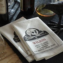 """Crossbones Bar Towel, Set of 2 - Delicate tone-on-tone impressions of Halloween icons cover our cotton towels. 16 x 18"""" Woven of pure cotton. Personalization will be placed at the center of the decal on each bar towel. Set of 2. Machine wash. Imported."""